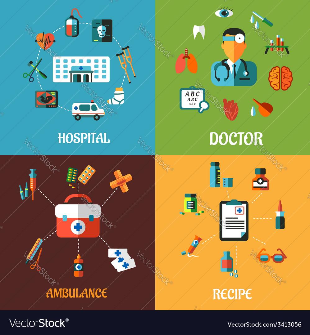 Flat medical concept designs vector | Price: 1 Credit (USD $1)