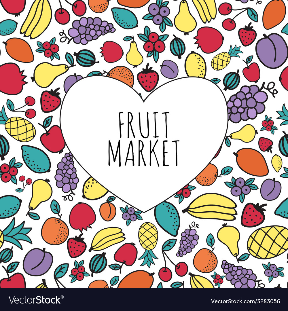 Hand-drawn fruit market concept heart shape with vector | Price: 1 Credit (USD $1)