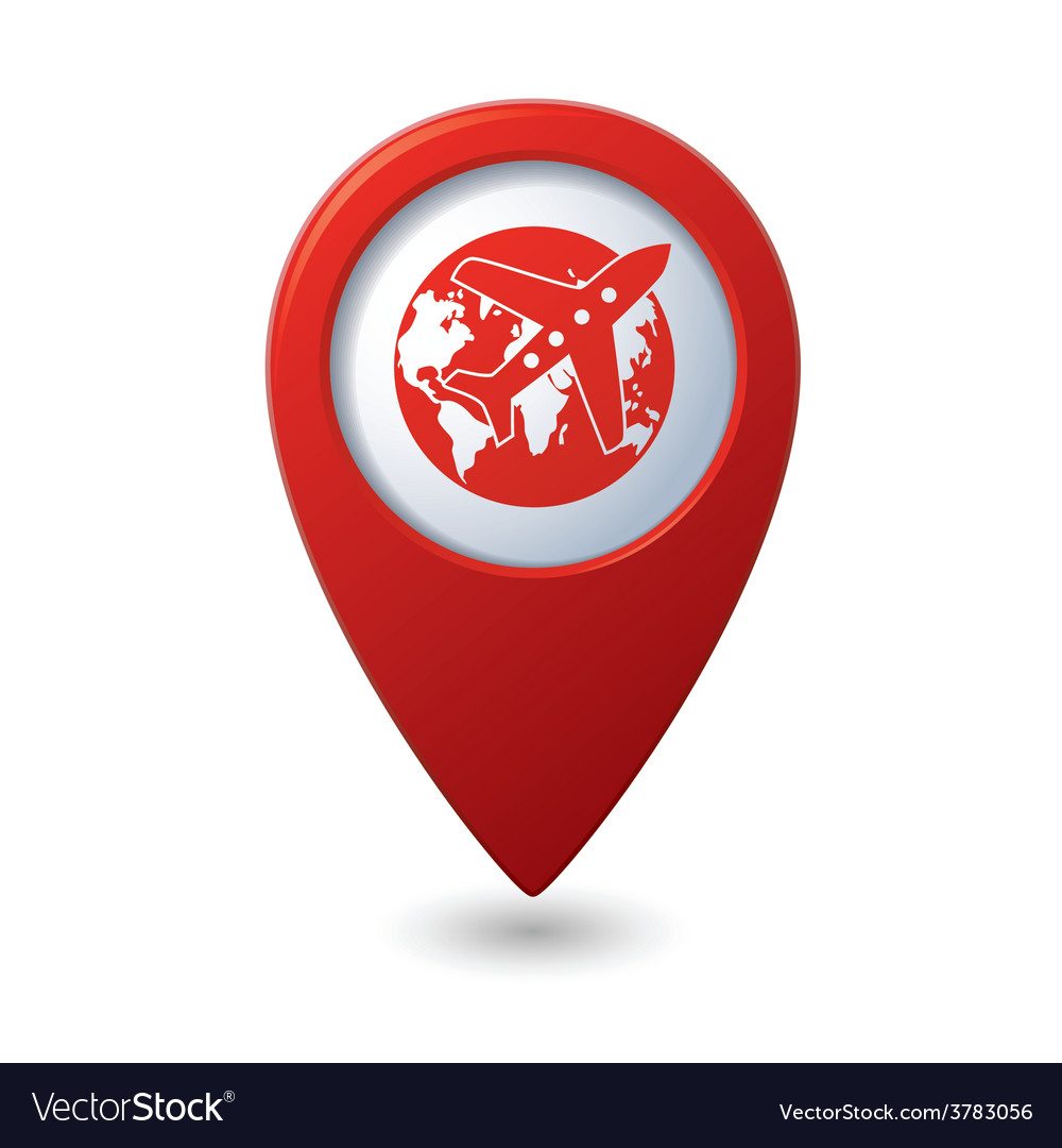 Plane and globe red pointer vector | Price: 1 Credit (USD $1)
