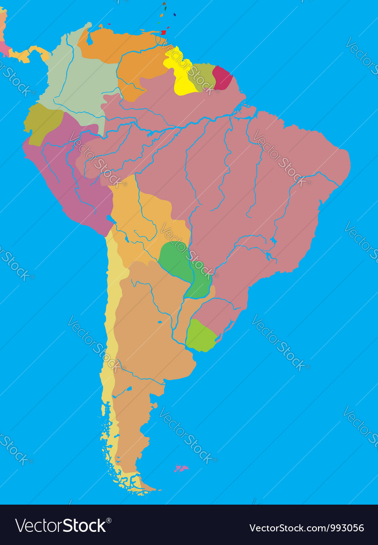 Political map of south america vector | Price: 1 Credit (USD $1)