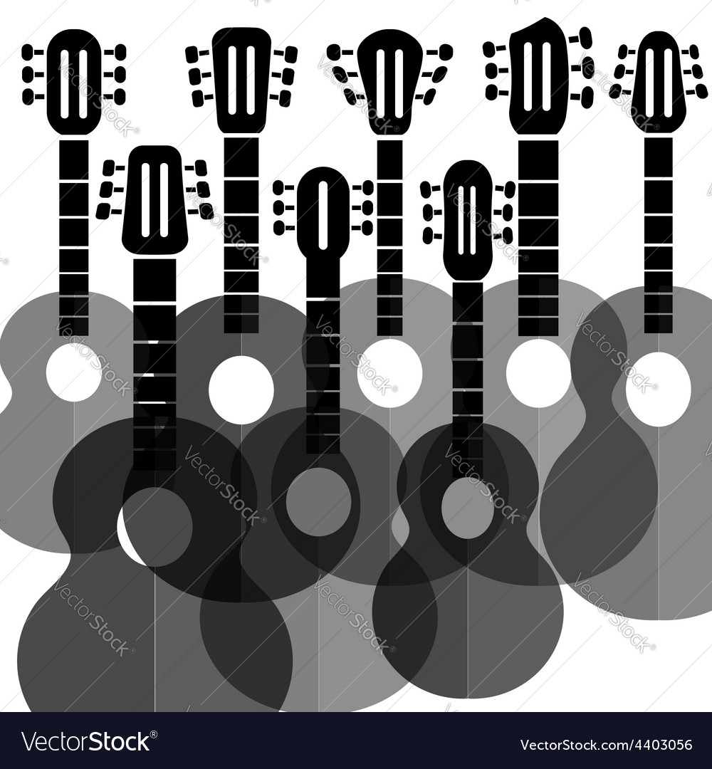 Silhouettes guitars vector | Price: 1 Credit (USD $1)