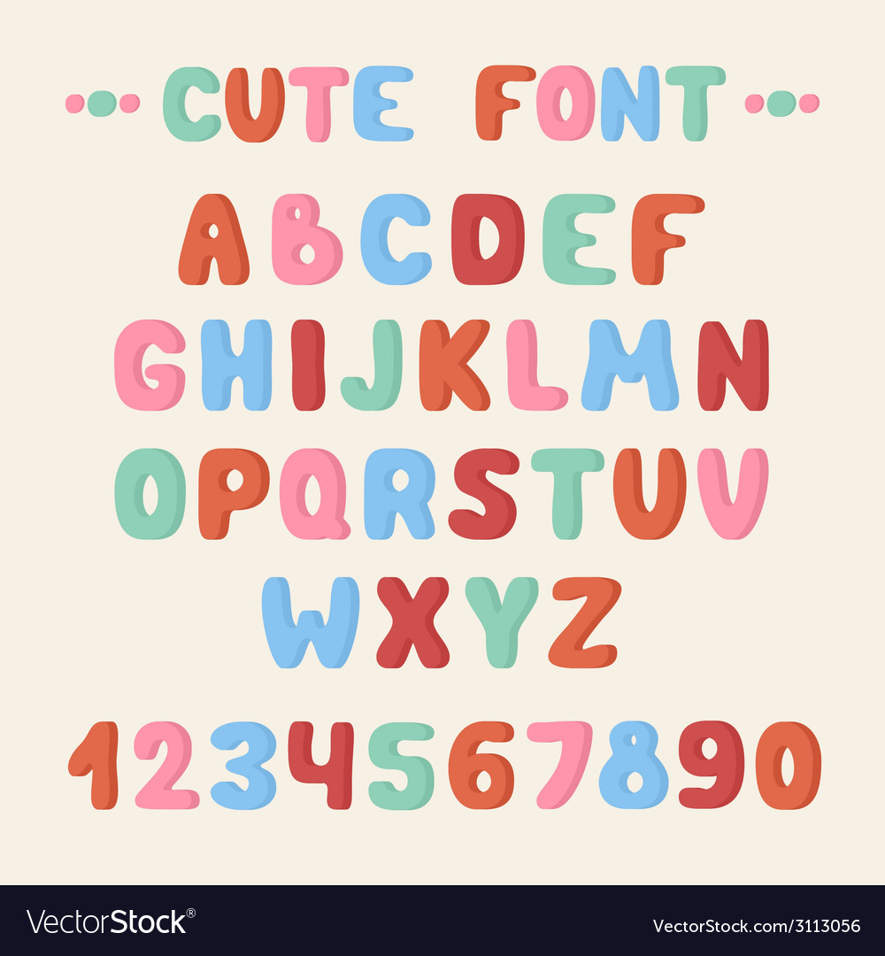 Simple colorful hand drawn font complete abc vector | Price: 1 Credit (USD $1)