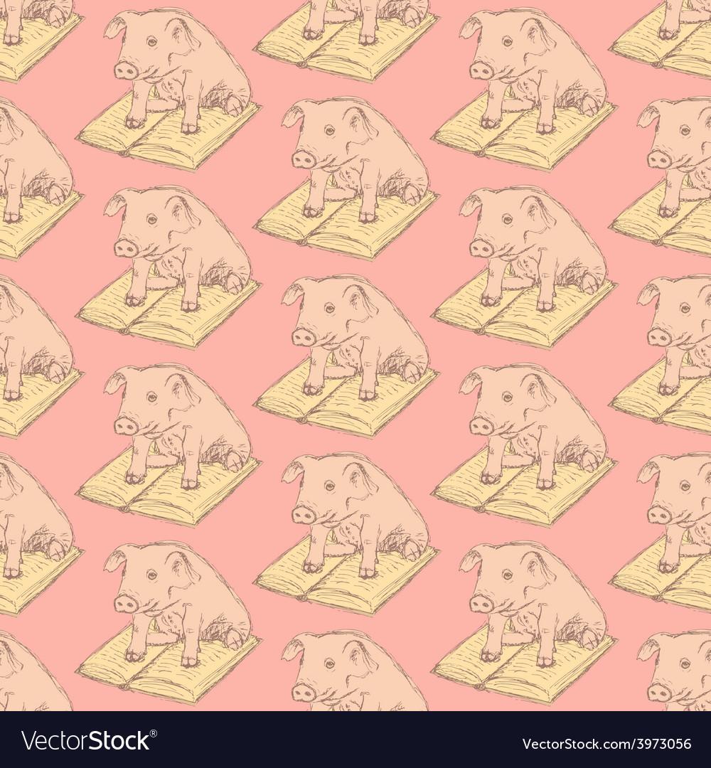Sketch fancy pig in vintage style vector | Price: 1 Credit (USD $1)