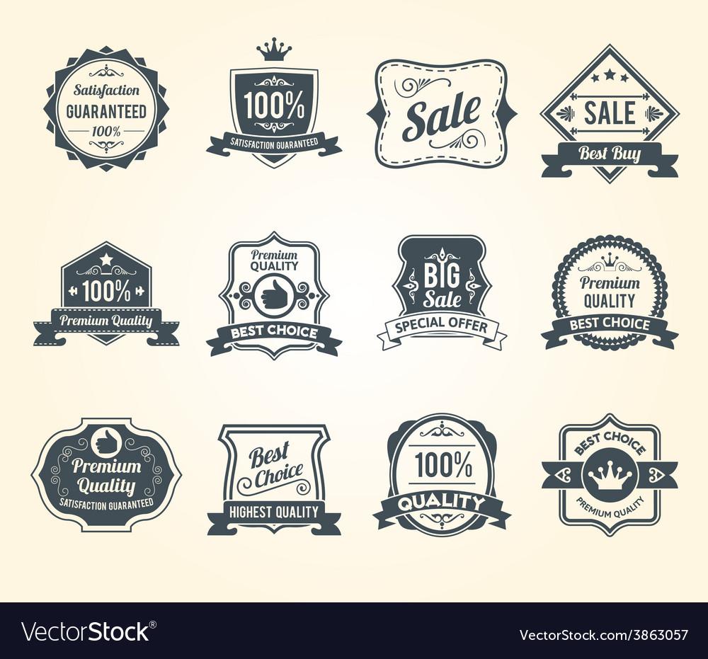 Black retro sales labels icons collection vector | Price: 1 Credit (USD $1)