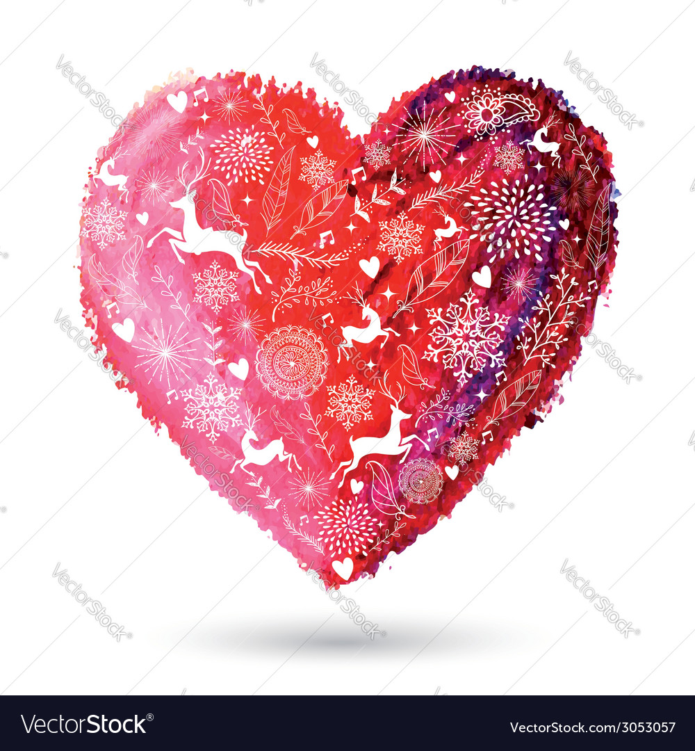 Christmas love heart arty greeting card vector | Price: 1 Credit (USD $1)
