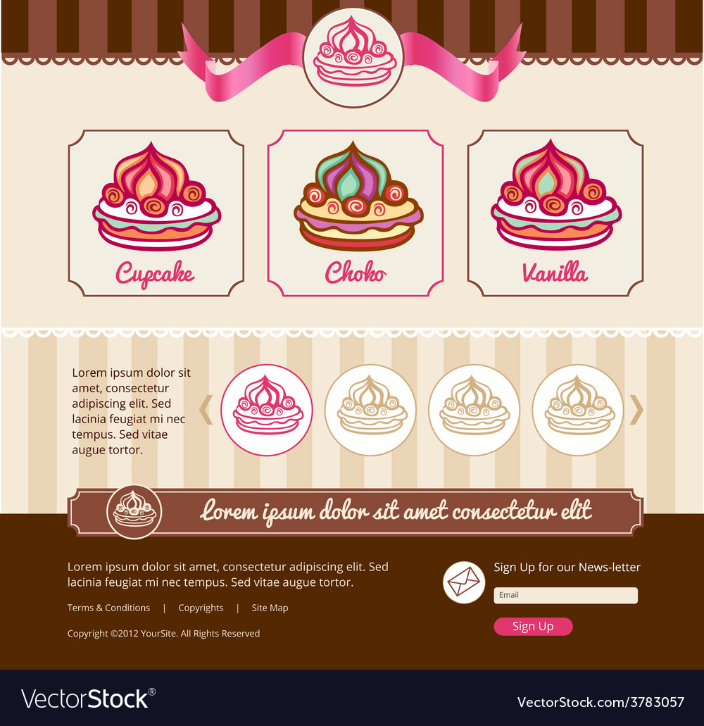 Dessert theme for web template vector
