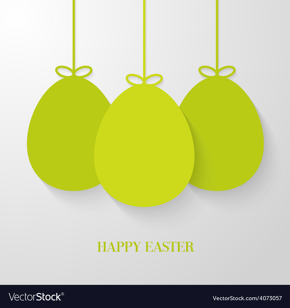 Easter greeting card with hanging paper green eggs vector | Price: 1 Credit (USD $1)