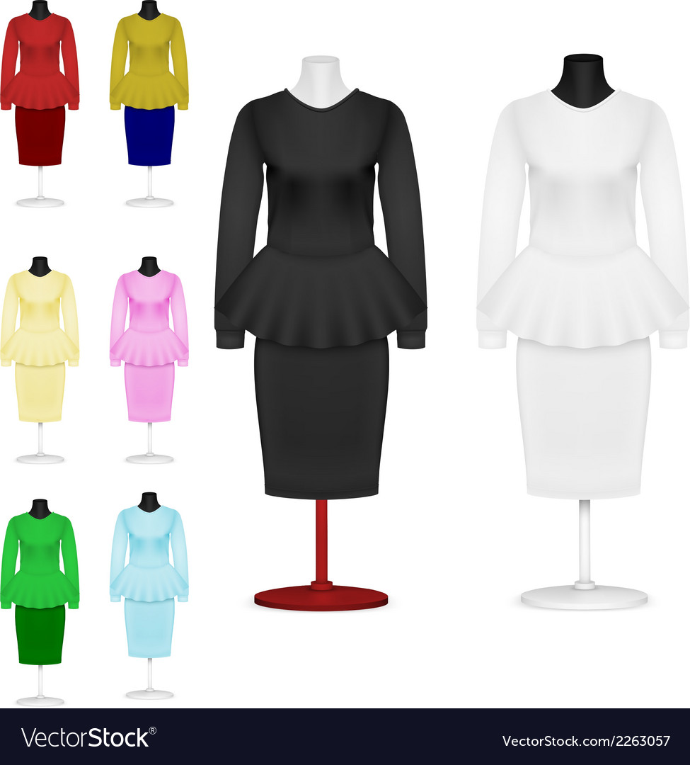 Female plain suit and skirt template set vector | Price: 1 Credit (USD $1)