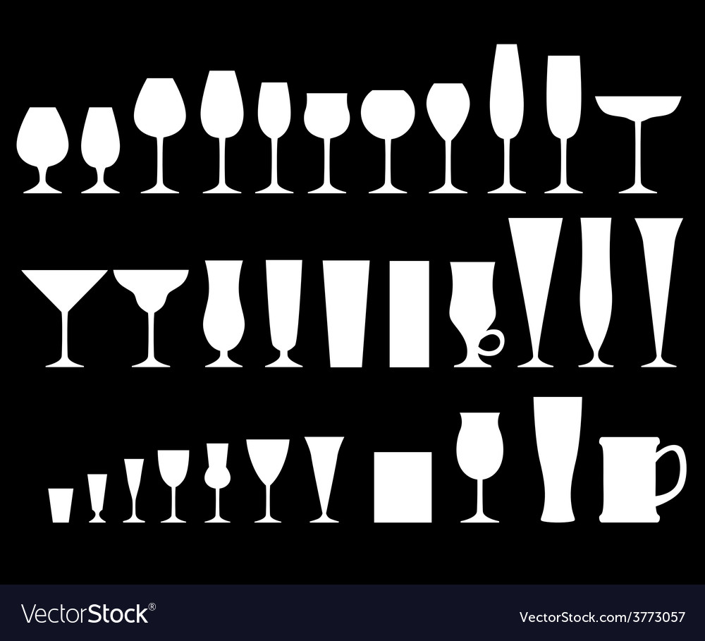 Glass goblets black vector | Price: 1 Credit (USD $1)