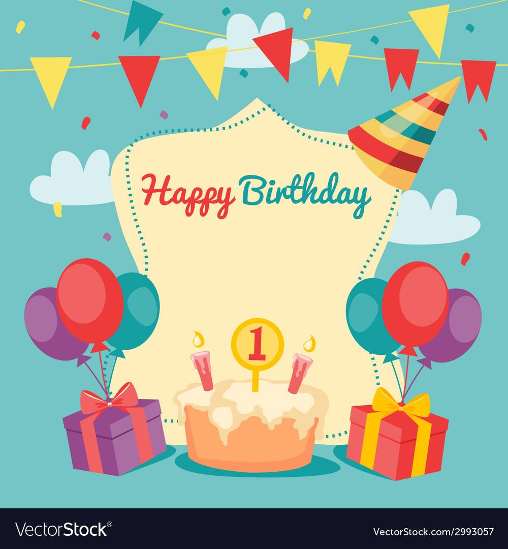 Happy birthday card vector   Price: 1 Credit (USD $1)