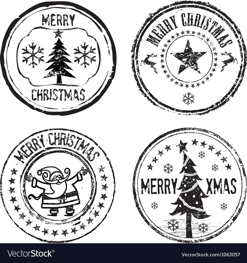 Merry xmas stamps vector | Price: 1 Credit (USD $1)