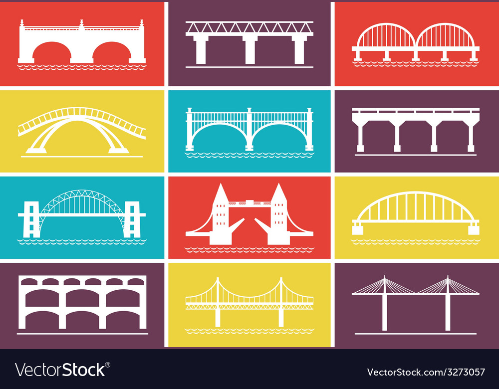 Modern bridge icons on colorful background designs vector | Price: 1 Credit (USD $1)