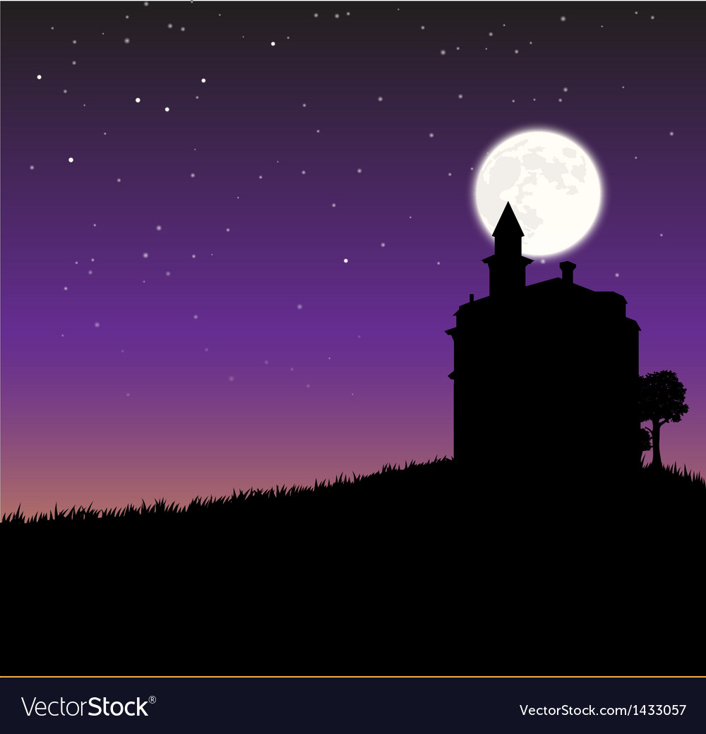 Night sky with castle an moon vector | Price: 1 Credit (USD $1)