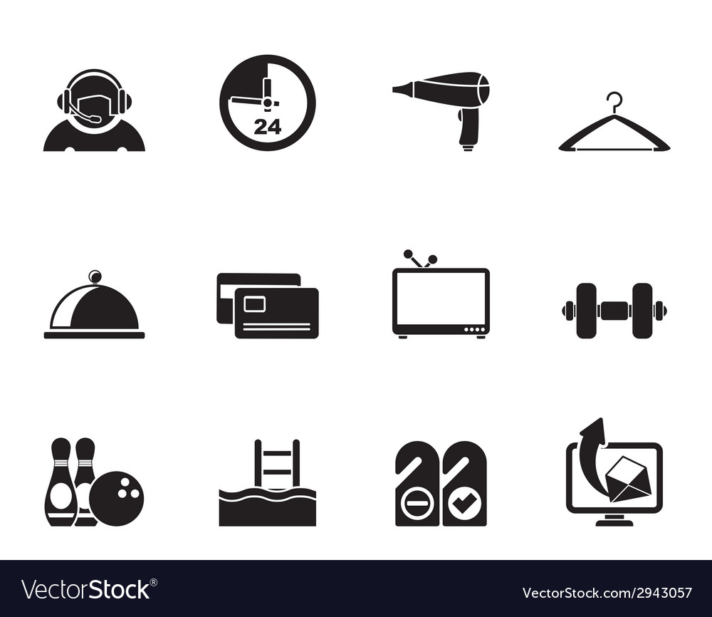 Silhouette hotel and motel amenity icons vector | Price: 1 Credit (USD $1)