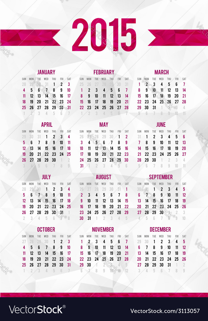 Simple 2015 year calendar template on abstract vector   Price: 1 Credit (USD $1)