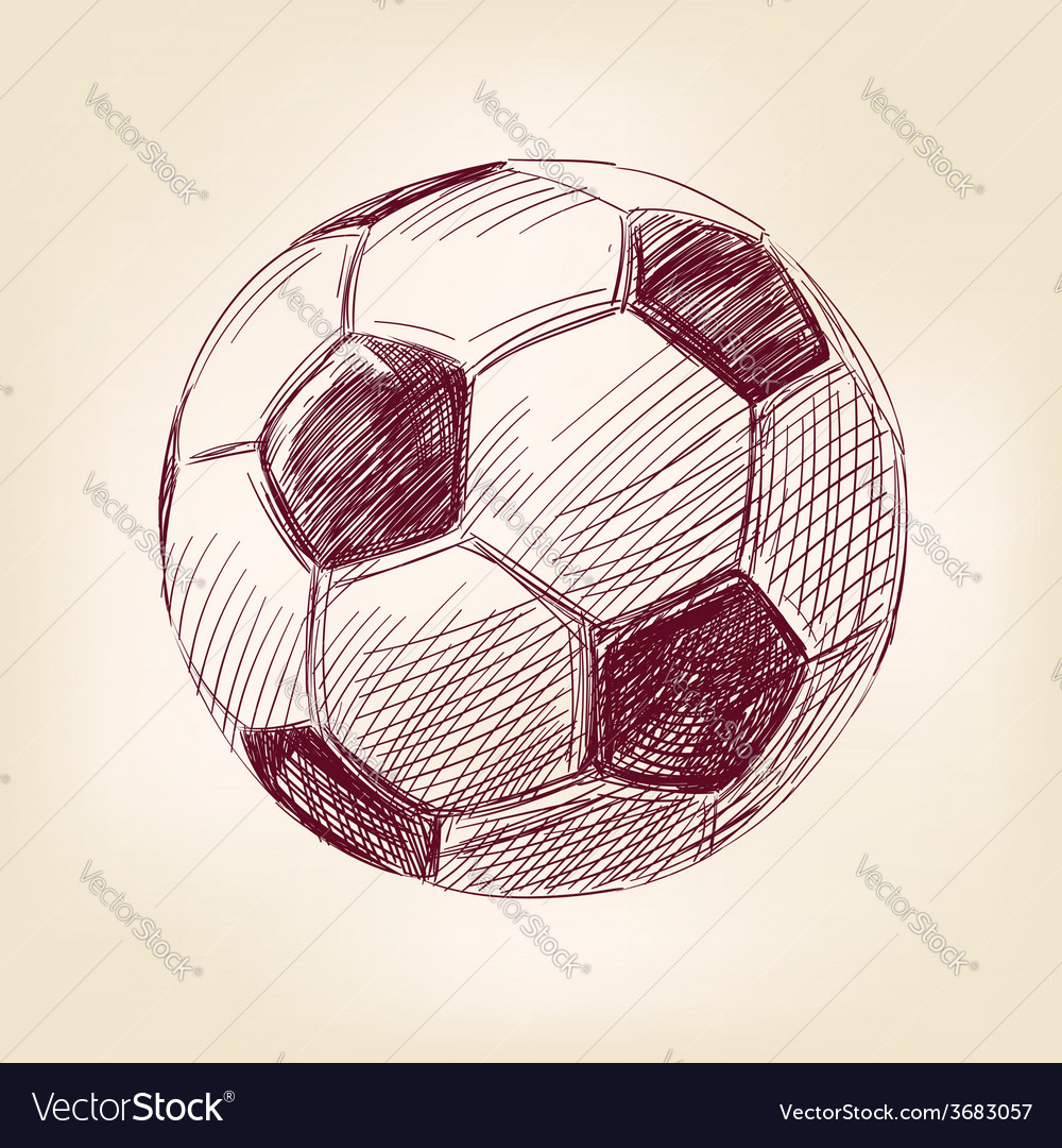 Soccer ball hand drawn llustration realistic vector | Price: 1 Credit (USD $1)