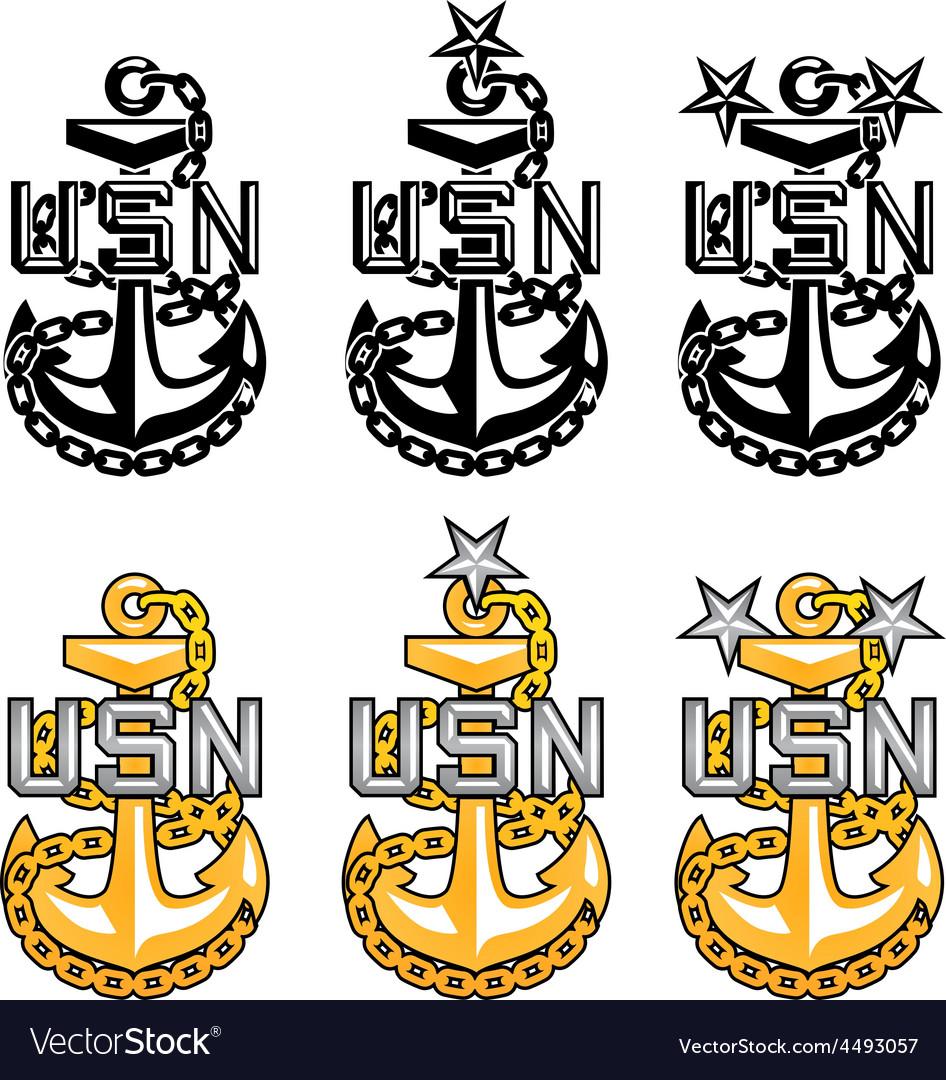 Us navy cpo anchors vector