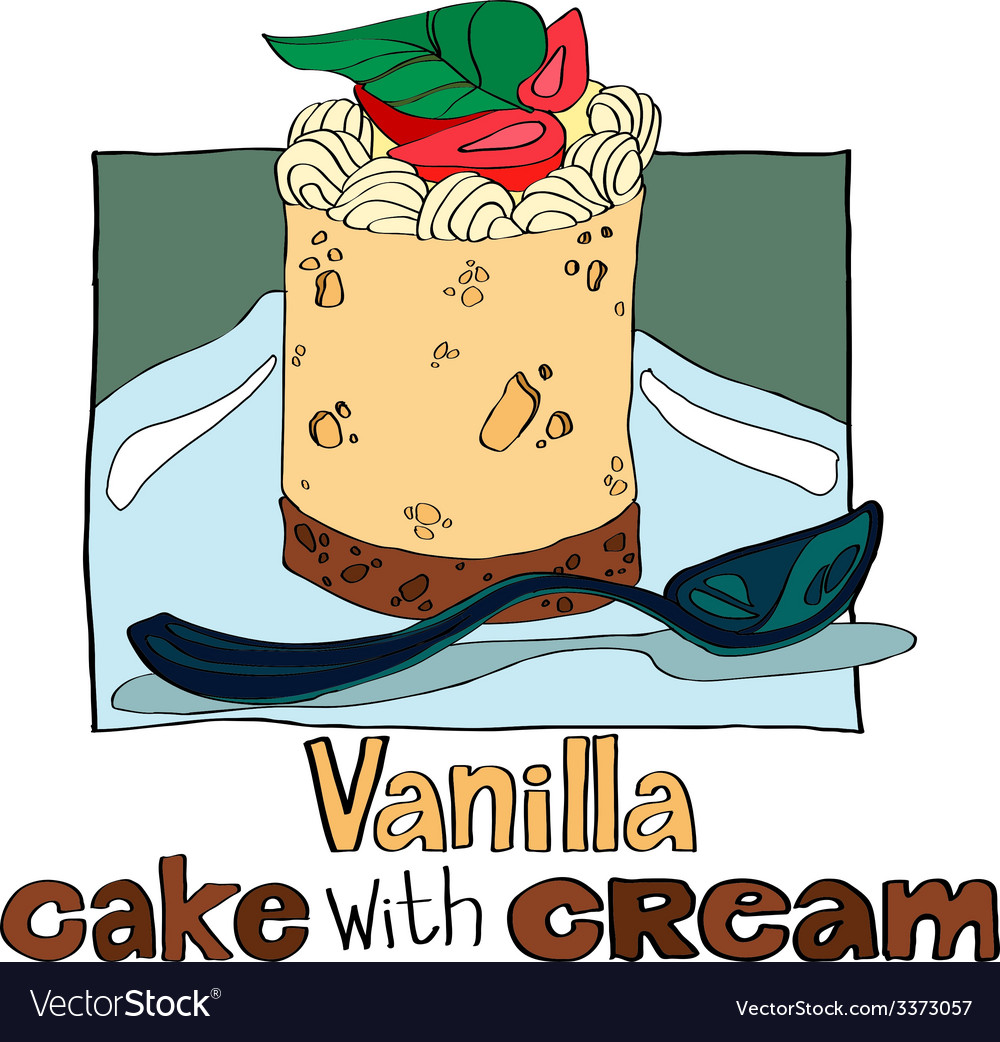Vanilla cake with cream vector | Price: 1 Credit (USD $1)