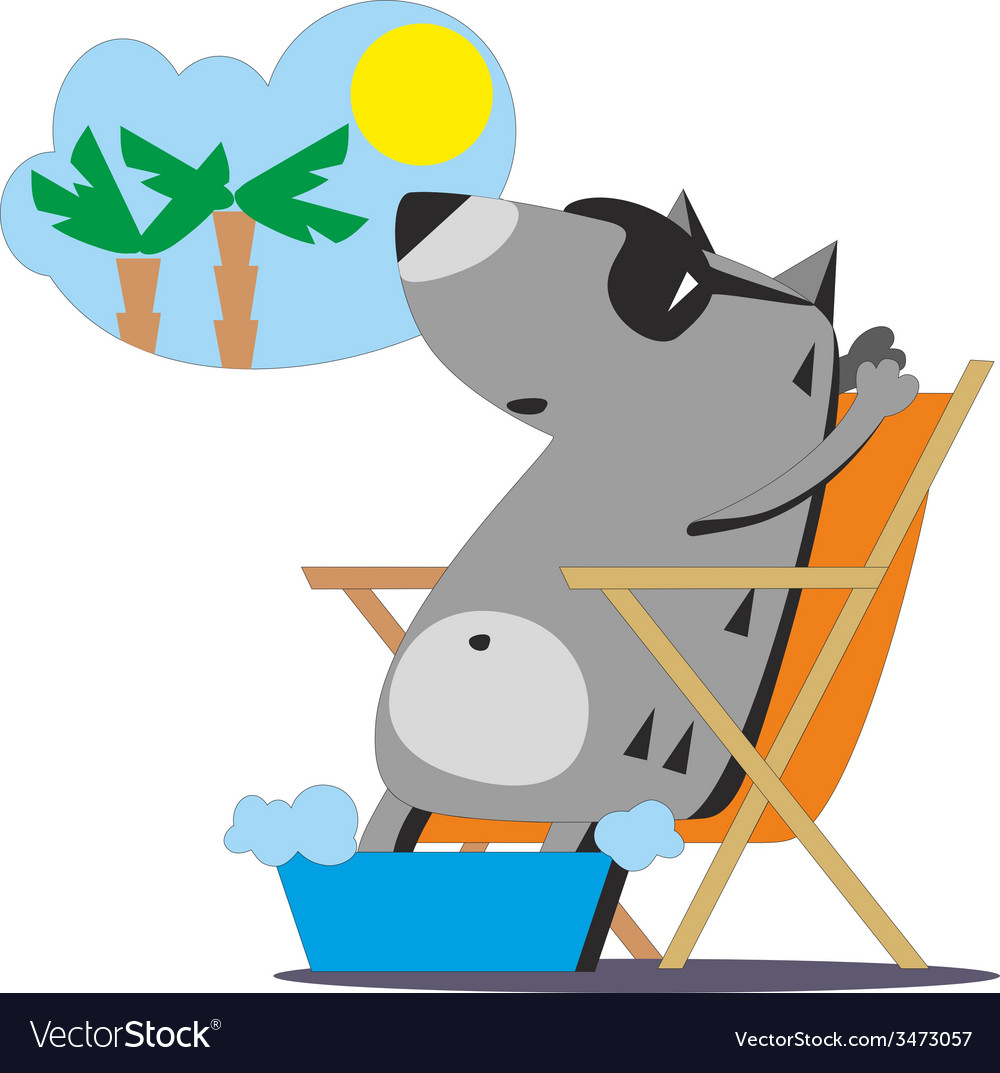 Wolf dreaming about vacation 04 vector | Price: 1 Credit (USD $1)