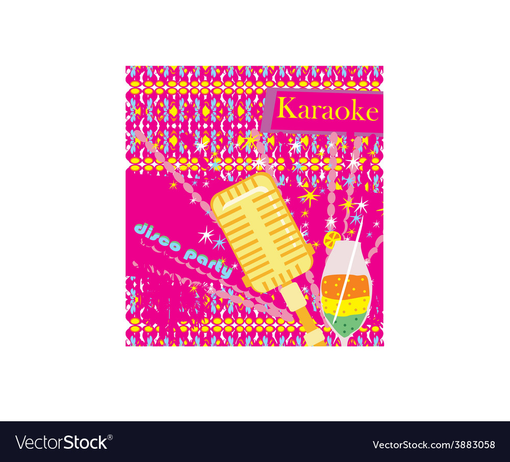 Banner with microphone - karaoke party design vector | Price: 1 Credit (USD $1)