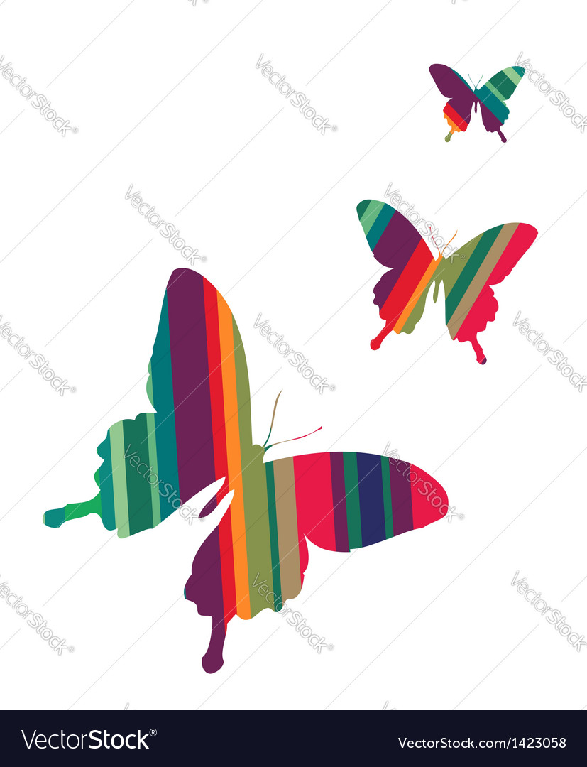Butterflies on white background vector   Price: 1 Credit (USD $1)