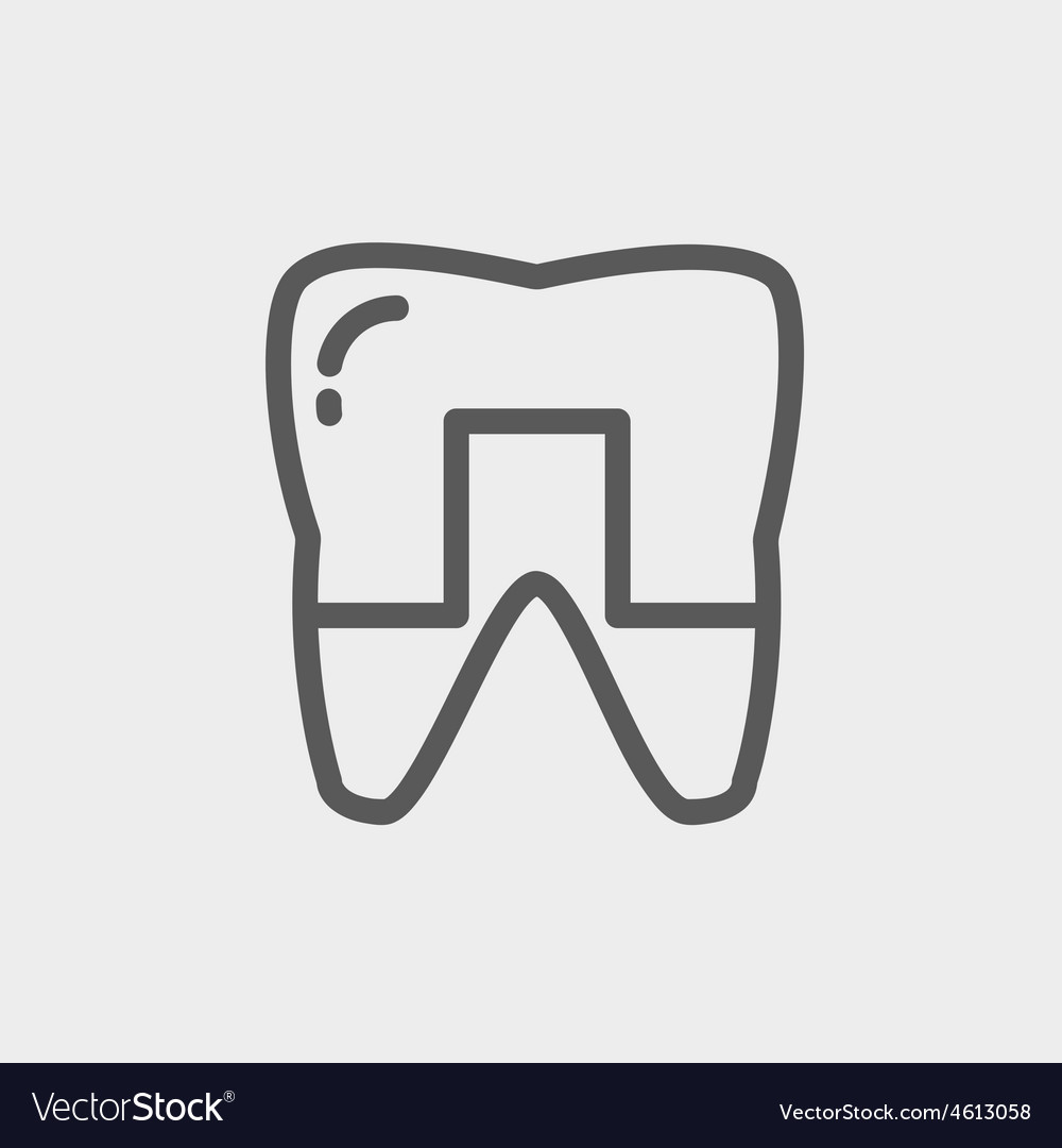 Crowned tooth thin line icon vector | Price: 1 Credit (USD $1)