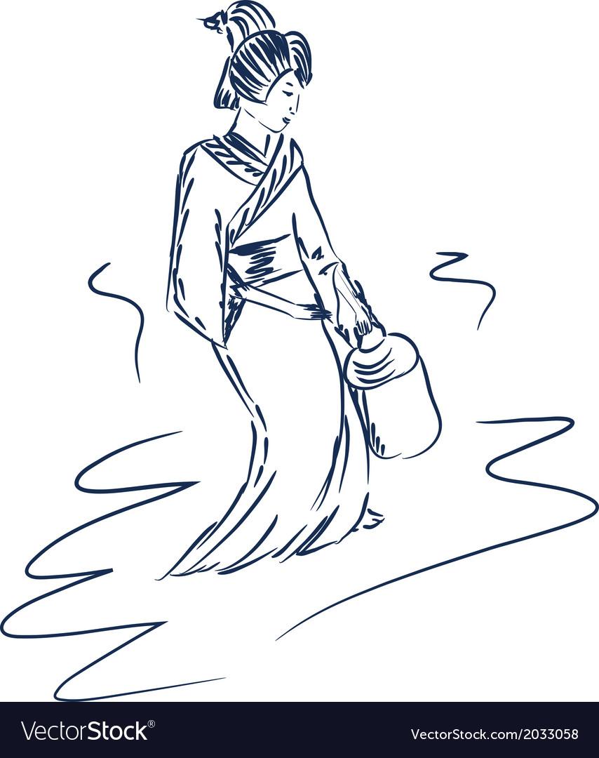 Japanese geisha vector | Price: 1 Credit (USD $1)
