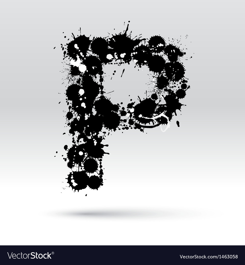 Letter p formed by inkblots vector | Price: 1 Credit (USD $1)