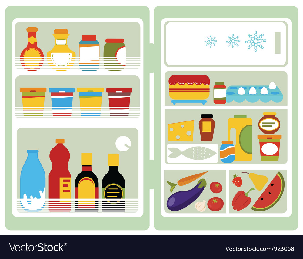 Open fridge with food vector | Price: 1 Credit (USD $1)