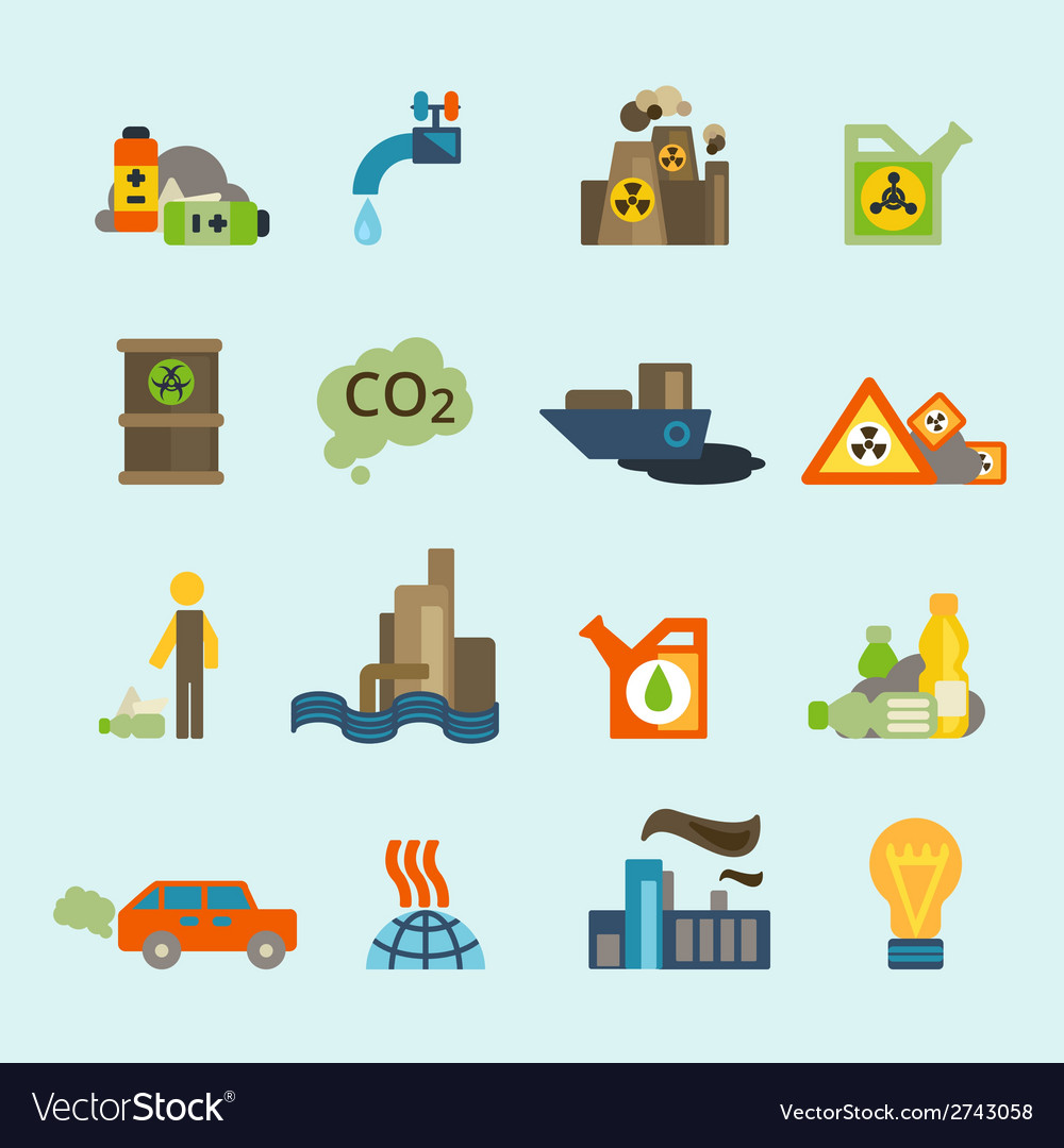 Pollution icon set vector | Price: 1 Credit (USD $1)