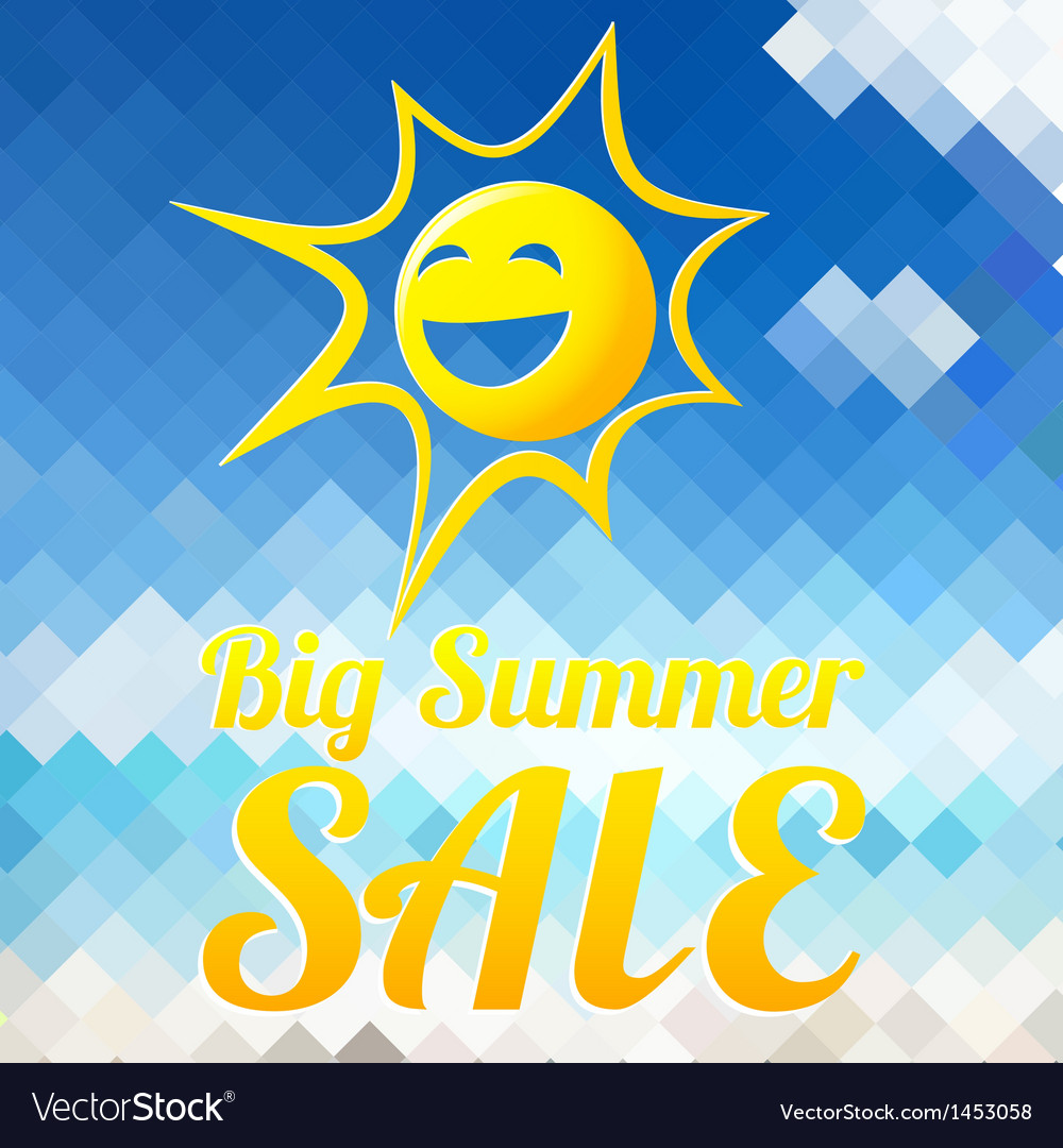 Summer sale design template with smiling sun vector | Price: 1 Credit (USD $1)