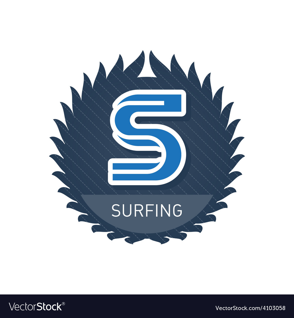 Surfing - sports and recreation label or heraldic vector | Price: 1 Credit (USD $1)