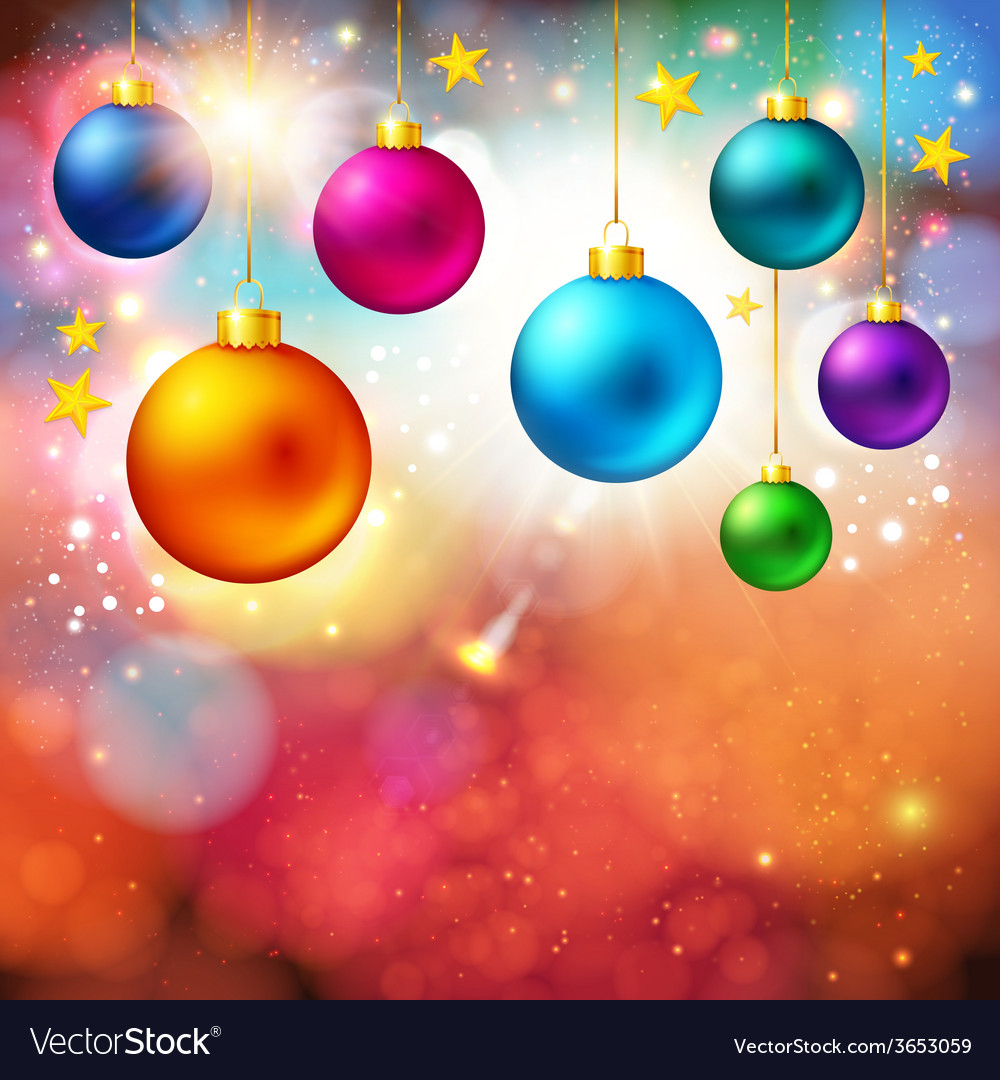 Bright christmas card with realistic xmas balls vector | Price: 1 Credit (USD $1)