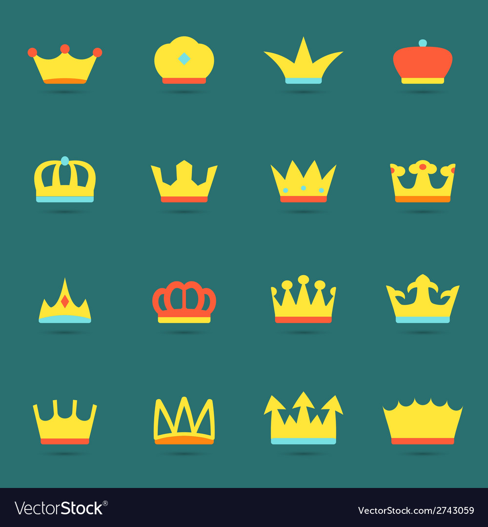Crown icon set vector | Price: 1 Credit (USD $1)
