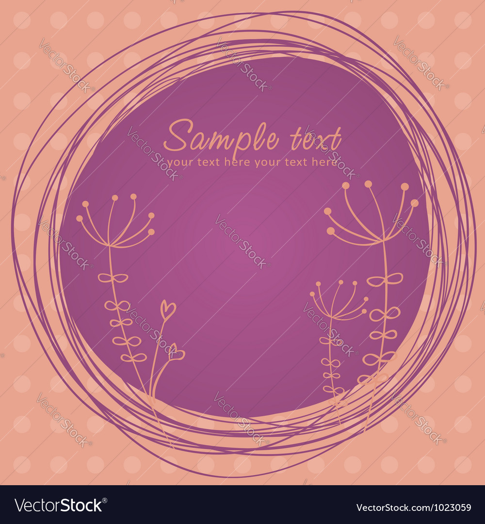 Cute sketch flower retro postcard vector | Price: 1 Credit (USD $1)