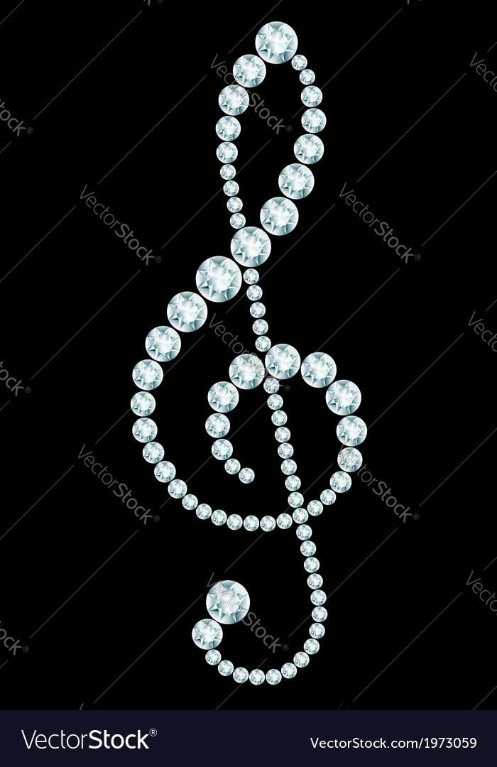 Diamond treble clef sign vector   Price: 1 Credit (USD $1)