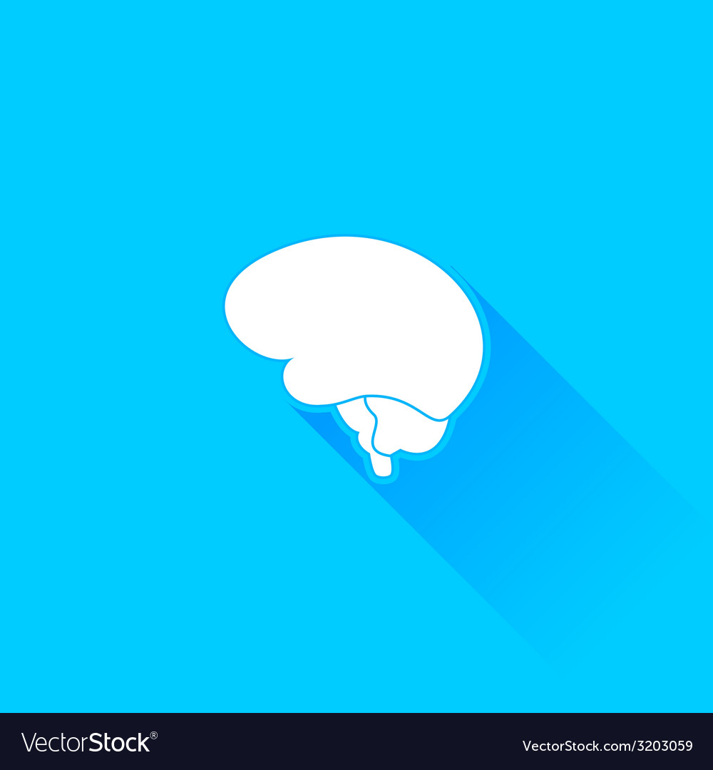 Flat long shadow brain icon vector | Price: 1 Credit (USD $1)