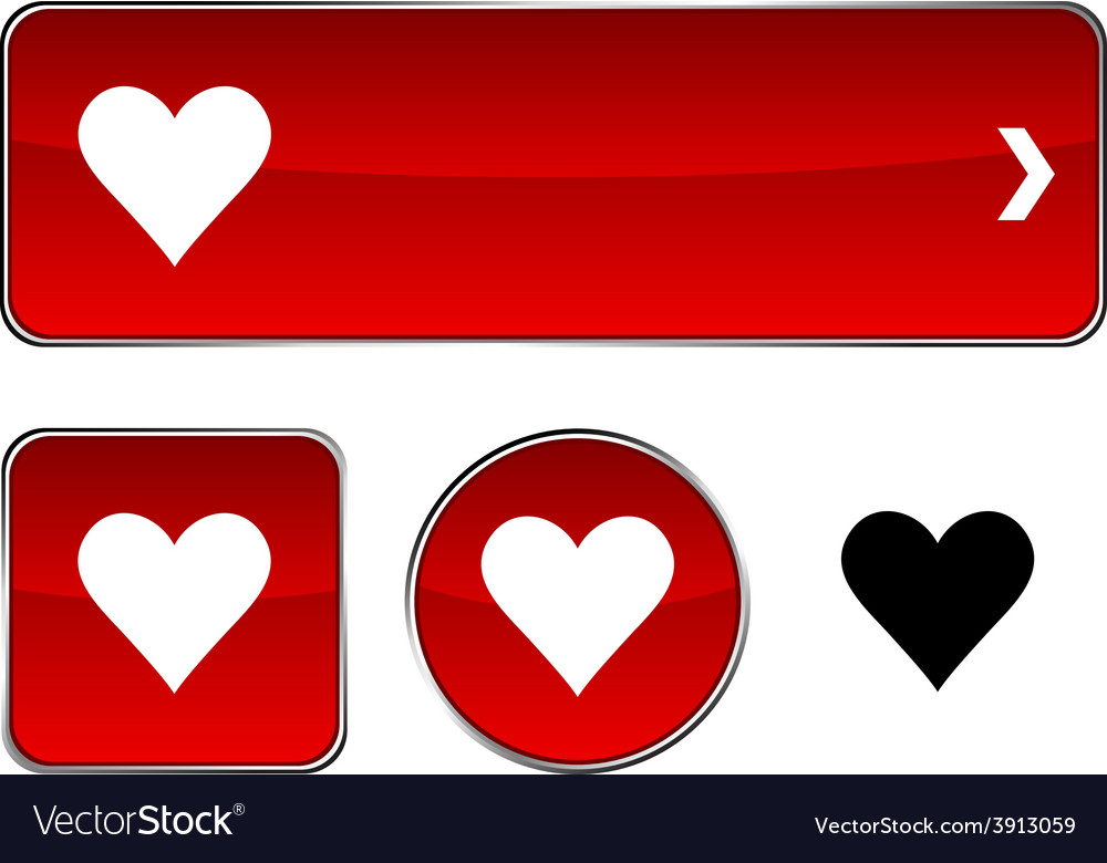 Love button set vector | Price: 1 Credit (USD $1)
