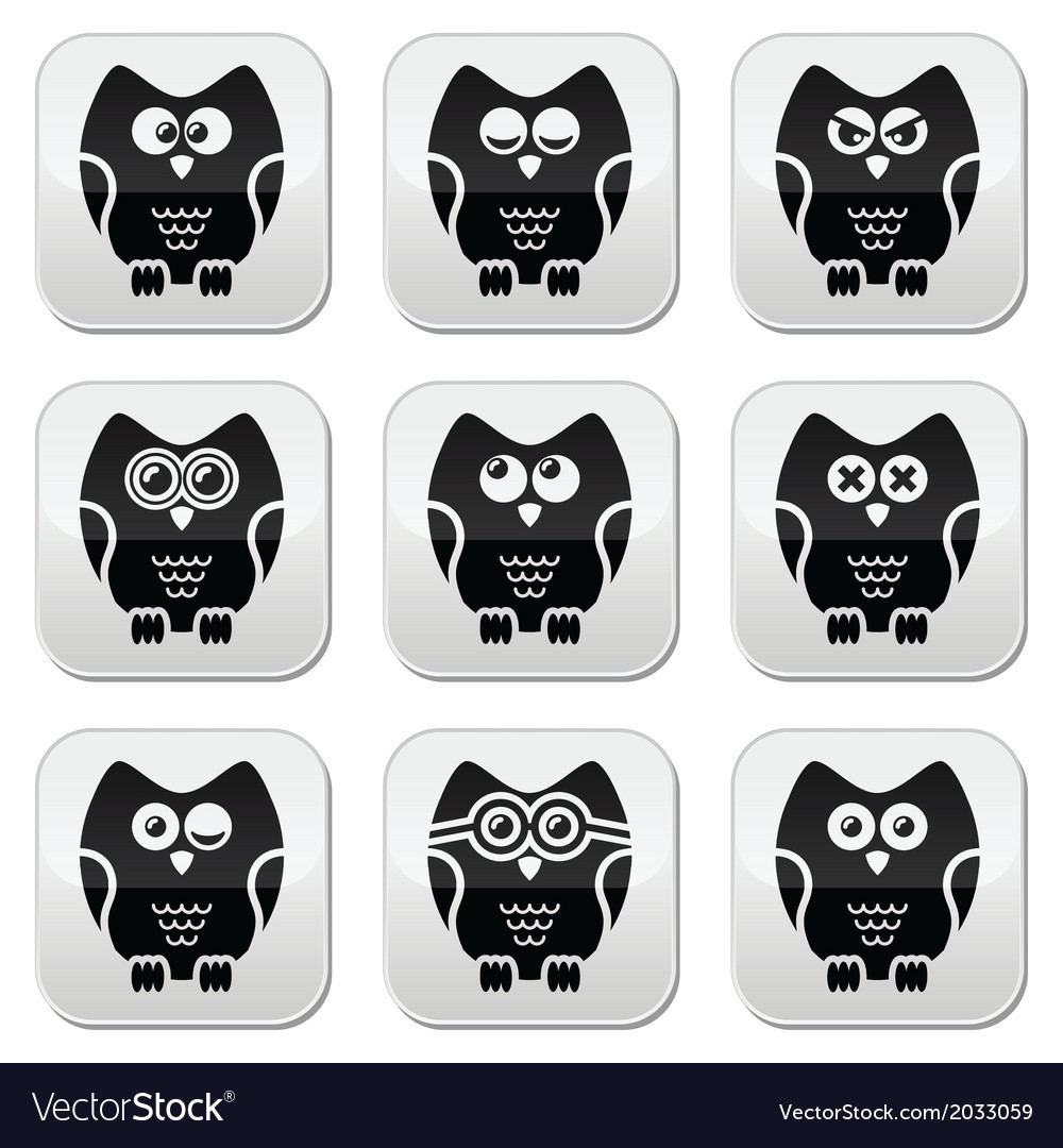 Owl cartoon character buttons set vector | Price: 1 Credit (USD $1)