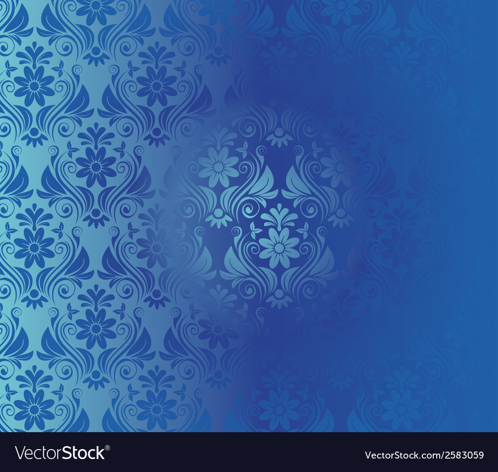 Retro background floral blue pattern vector | Price: 1 Credit (USD $1)