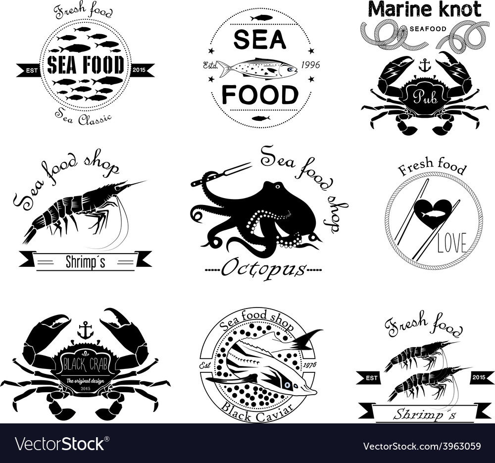 Sea food labels badges and design elements vector | Price: 1 Credit (USD $1)