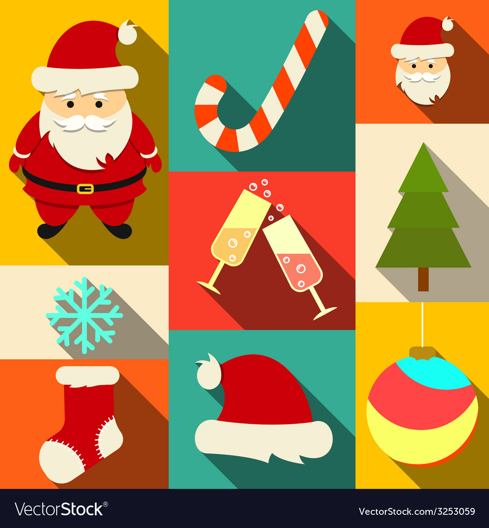 Set of christmas flat icons vector | Price: 1 Credit (USD $1)