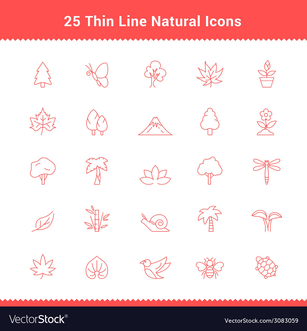 Set of thin line stroke natural icons vector | Price: 1 Credit (USD $1)