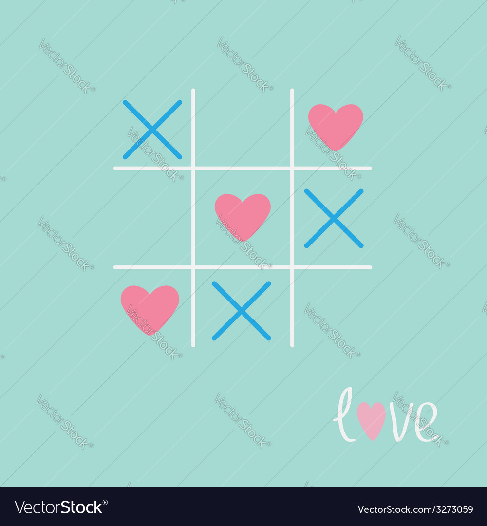 Tic tac toe game with cross and heart sign mark vector | Price: 1 Credit (USD $1)