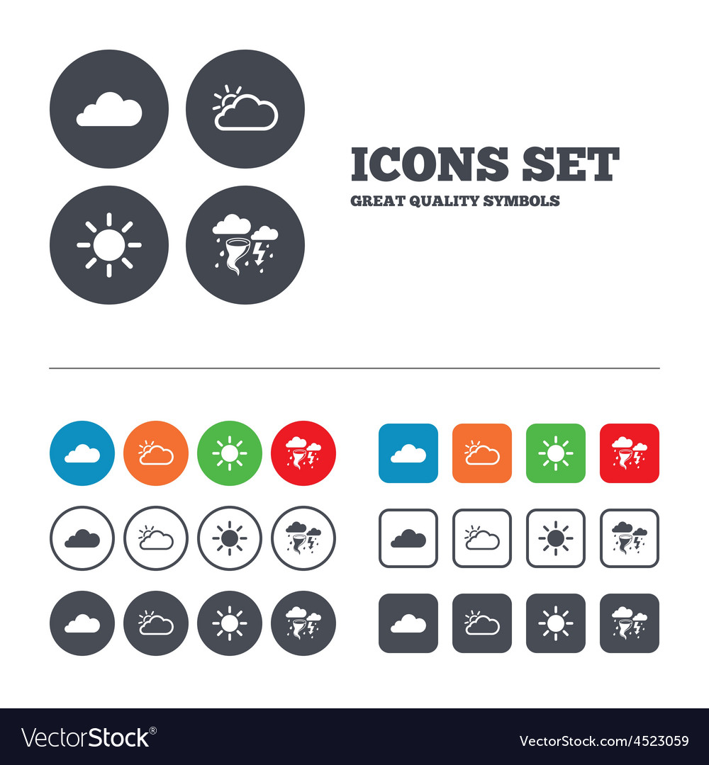 Weather icons cloud and sun storm symbol vector | Price: 1 Credit (USD $1)