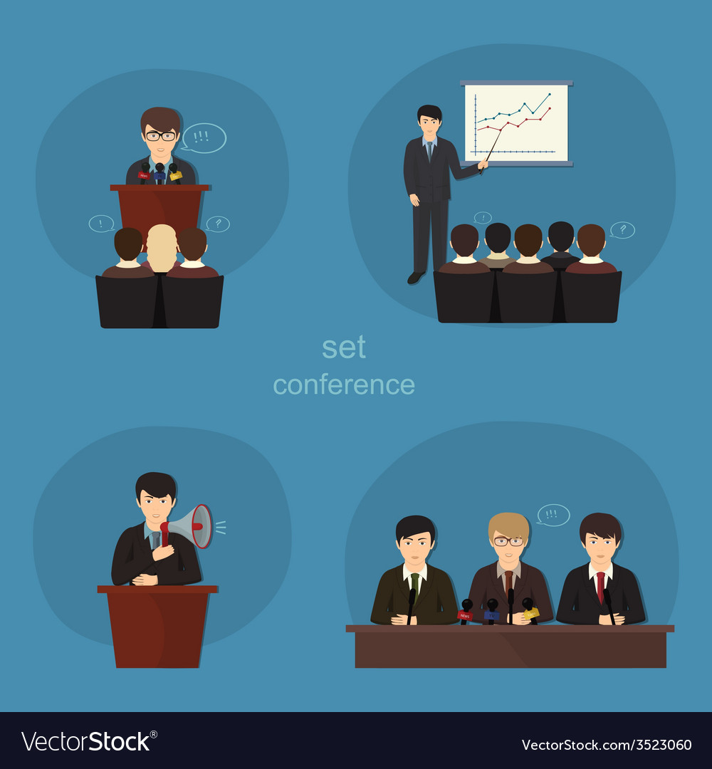 Business concept flat icons set of meeting vector   Price: 1 Credit (USD $1)