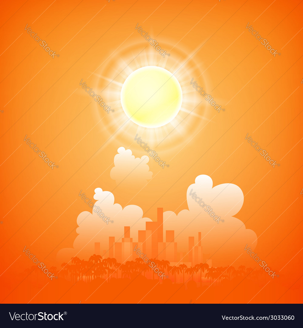 City on a sunny day vector | Price: 1 Credit (USD $1)