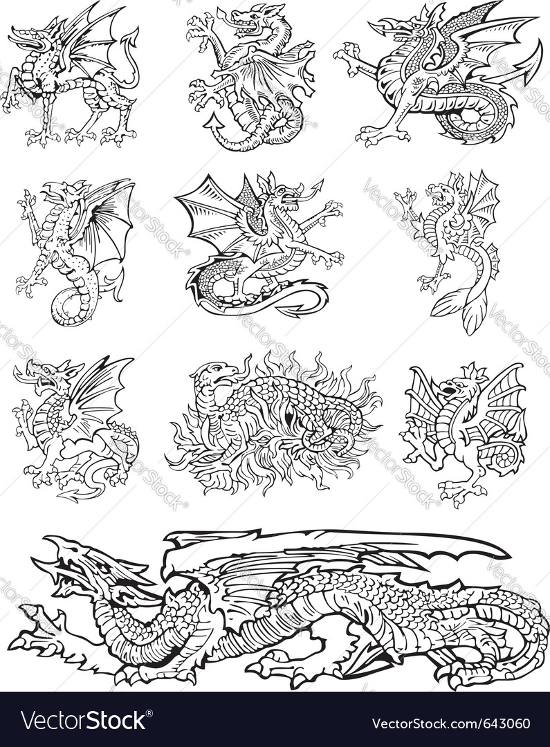 Heraldic dragons vector | Price: 1 Credit (USD $1)