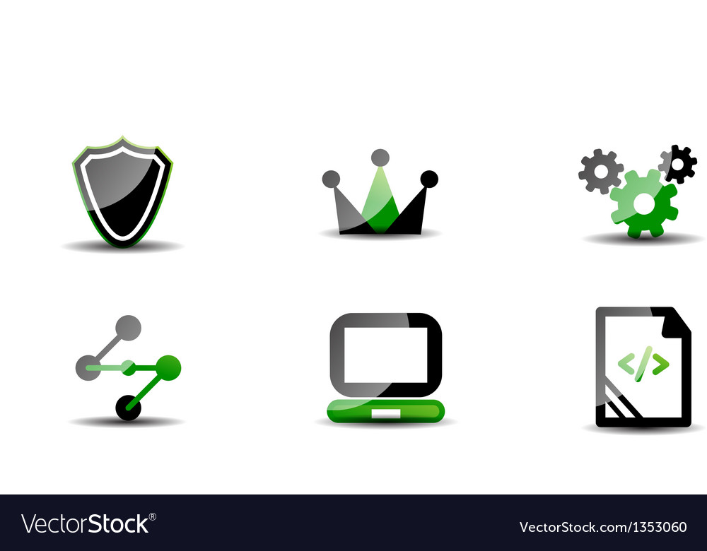 Modern web green  black icon set vector | Price: 1 Credit (USD $1)