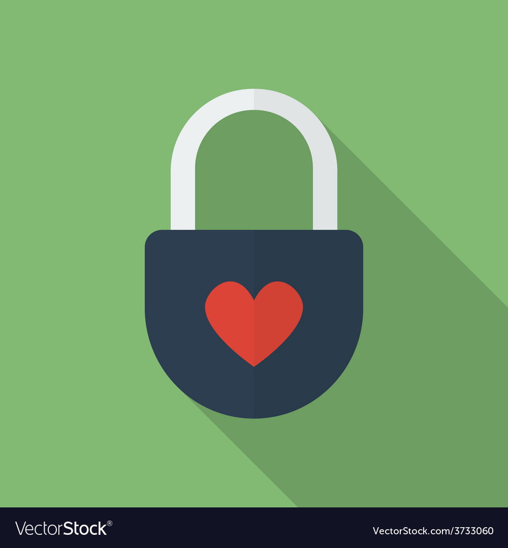Padlock with heart flat style icon vector | Price: 1 Credit (USD $1)